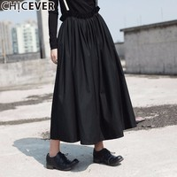 CHICEVER Vintage High Waist Black Women's Skirt Spaghetti Strap Hit Colors Loose Big Size Autumn Women Skirts Fashion 2017