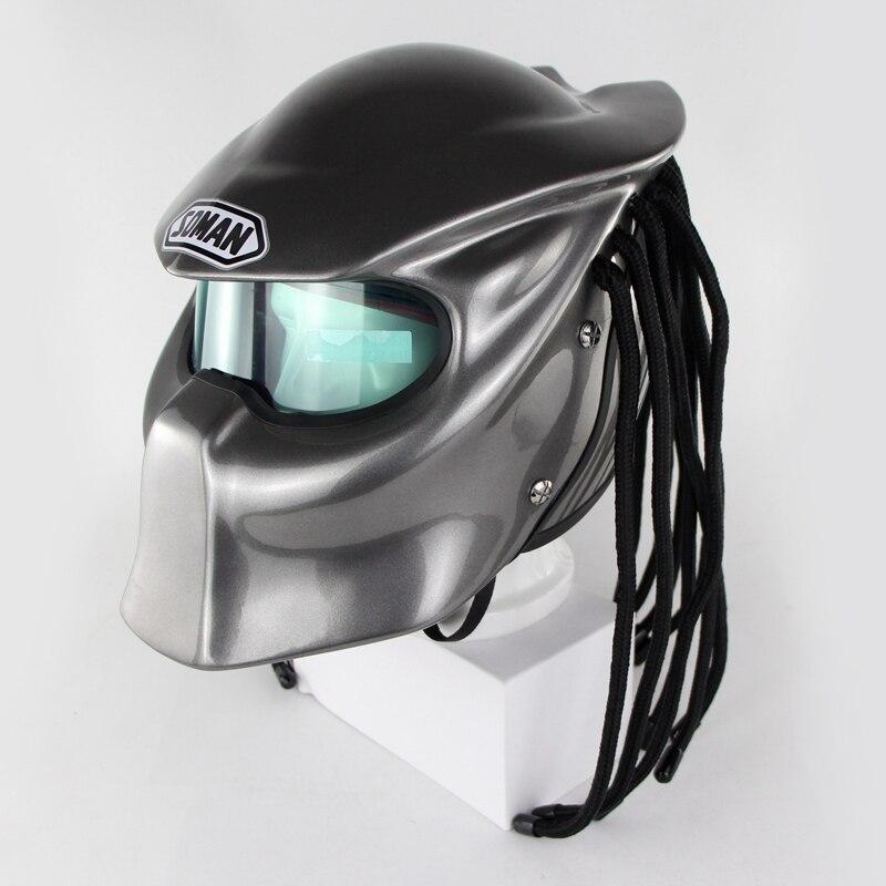 Original Predators Motorcycle Helmets  Iron Man Full face casco with Braids Soman 957
