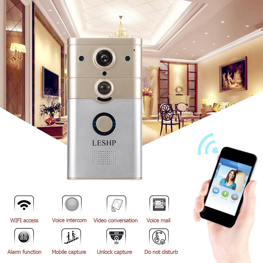 LESHP Wireless Remote Control Electronic Visible HD 720P Video Picture 1/4 COMS 1 Mega-Pixels 12V/1A Wi-Fi Smart DoorbellLESHP Wireless Remote Control Electronic Visible HD 720P Video Picture 1/4 COMS 1 Mega-Pixels 12V/1A Wi-Fi Smart Doorbell
