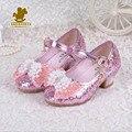 Primavera outono pérola de lantejoulas sandálias 2016 novas crianças shoes meninas princesa doce arco sandálias de salto alto frisado shoes tamanho 26-37
