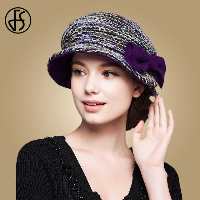 ae02d6f91b2 FS Fashion Wool Knitted Hat Women Winter Purple Wine Red Wide Brim Felt  Bucket Cap Lady Elegant Church Hats Chapeu Feminino
