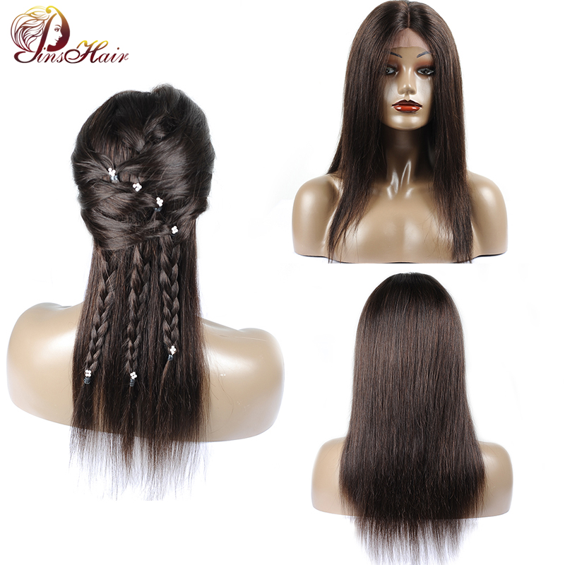 2 Natural Color Malaysian Straight Lace Front Human Hair Wig Black Women 180 Density Lace