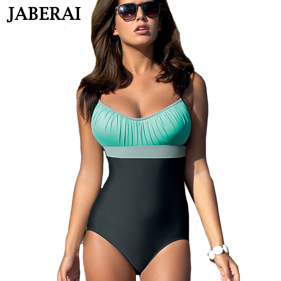 JABERAI Women One Piece Swimsuit 2017 Plus Size Bodysuit Summer Large Beachwear Vintage Retro Bathing Suits SwimWear plus size scalloped backless one piece swimsuit