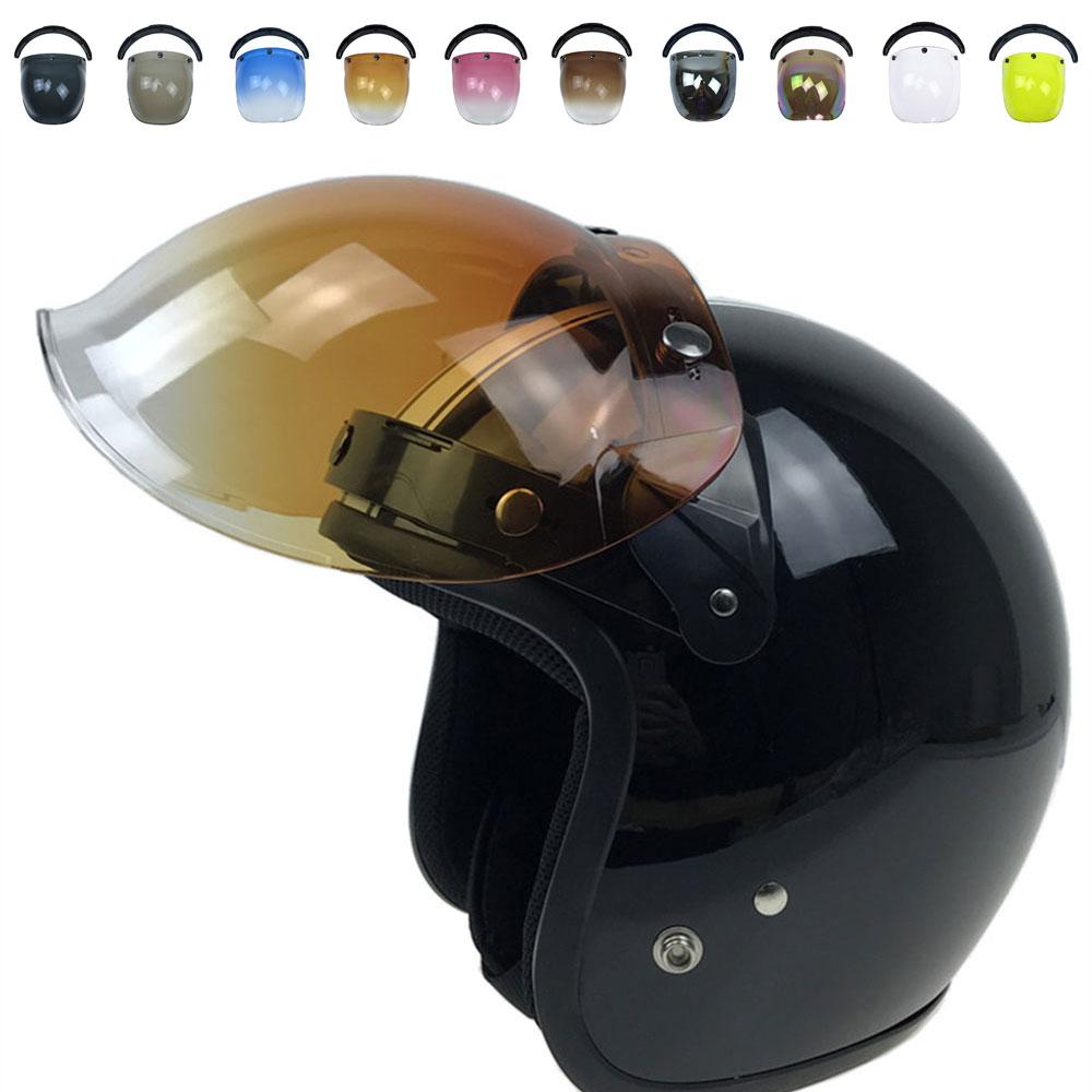 Vehemo 3 Snap 10 Farben Jahrgang Durable Windschutzscheibe Motorrad Objektiv Blase Visiere Windschutz Helm Visier Retro Windschutzscheibe