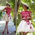 Vestido de Festa Curto Champagne Red Lace Elegant Cocktail Dresses 2016 Cap Sleeve Party cocktail Dress Short Prom Dress