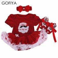 Fashion Christmas Infant Girl Rompers Dress Baby Girls Clothes Sets 3pcs Newborn Cotton Jumpsuit Clothes Santa