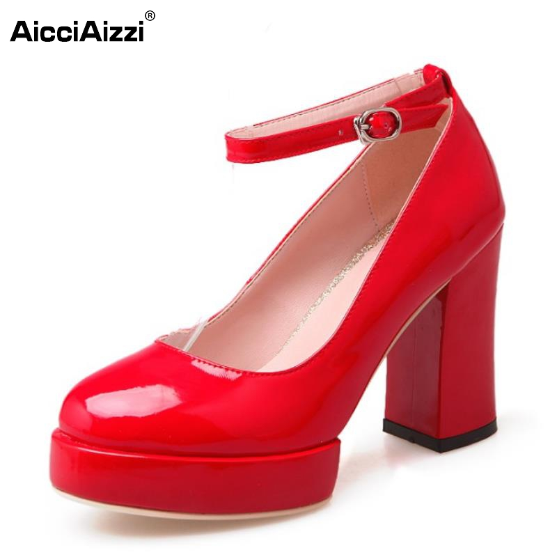 ФОТО Lady High Heels Shoes Women Pumps Patent Leather Platform Thick High Heel Ankle Strap Lady Shoes Round Toe Footwear Size 33-43