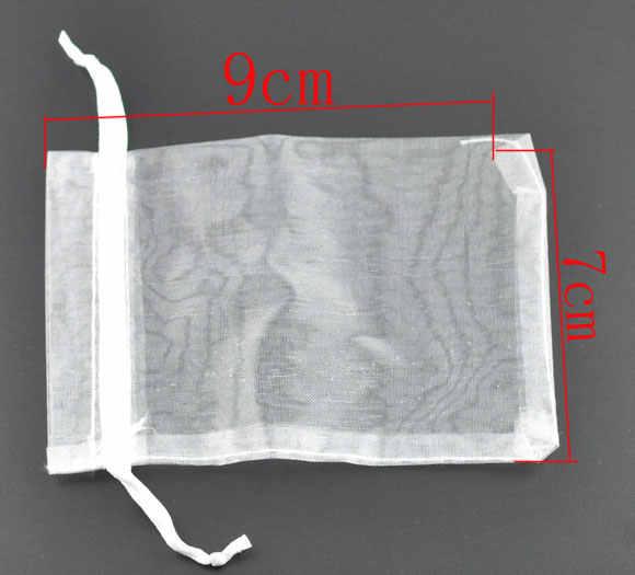 DoreenBeadsของขวัญกระเป๋าและกระเป๋า, organza,สีขาว,ด้วยการดึง,จัดงานแต่งงาน, 9x7เซนติเมตร.ขายต่อแพ็คเก็ต5 2015ใหม่