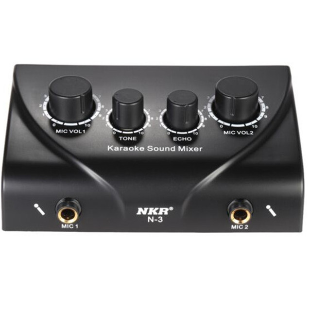 Original Brand NKR Professional Karaoke Sound Mixer Dual Mic Inputs With Cable Microphone Control Amplifier Echo Effect