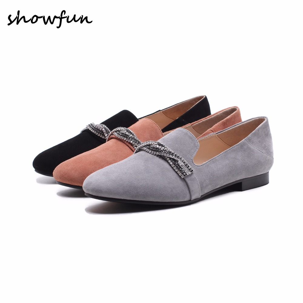 Women's genuine leather Rhinestone slip-on flats brand designer high quality comfortable leisure espadrilles shoes for women hot new hot sale women shoes breathable buckle slip on for women comfortable dress shoes genuine leather white colour free shipping