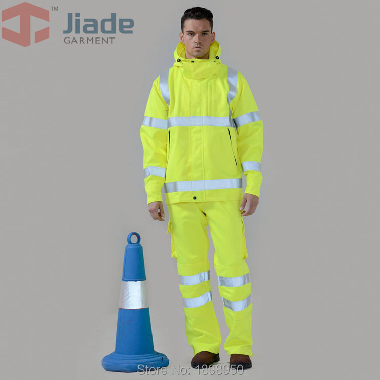 Jiade Adult High Visibility Jacket Long Sleeve Jacket Men's Work Reflective Jacket fluorescence yellow high visibility