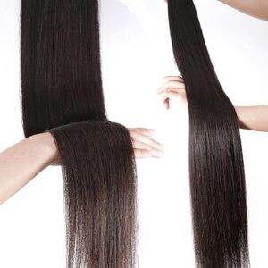Image 3 - 10 30 Inch חבילות עם פרונטאלית ברזילאי Staright שיער חבילות עם פרונטאלית שיער טבעי חבילות עם תחרה פרונטאלית פנינה רמי שיער