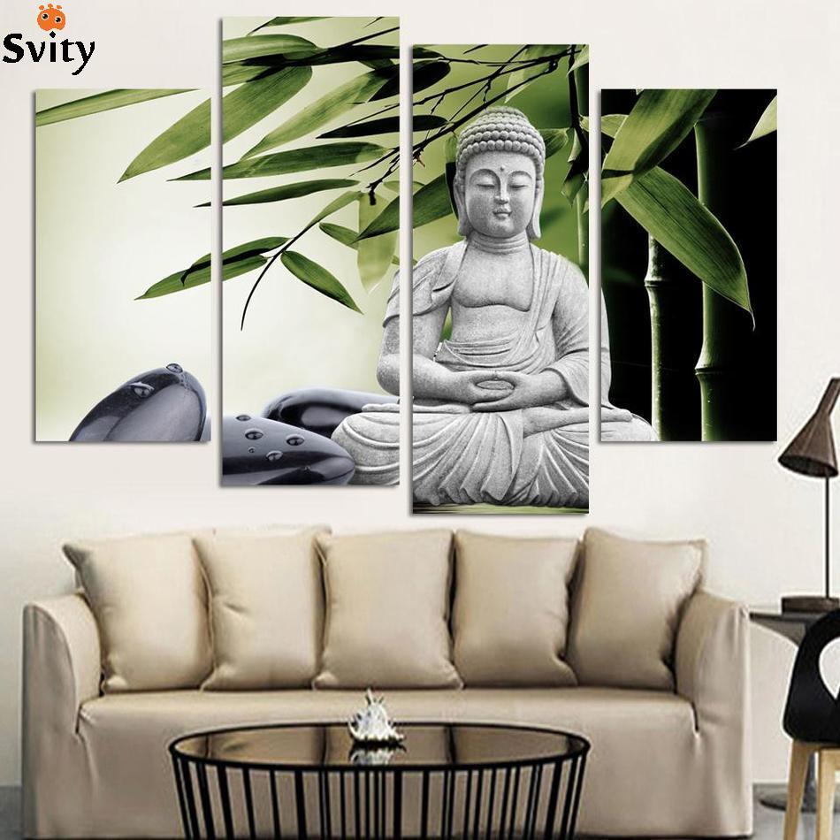 4 Obrázek Domů Dekorace mramorový buddha a banboo krajina umění - Dekorace interiéru