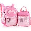 2016 НОВЫЙ (3 шт./компл.) стили принцесса розовый ПУ детей, школьные сумки симпатичные лук рюкзаки для девочек-подростков случайные точки ранцы