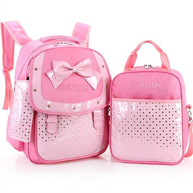 2016 NEW (3pcs/set) princess styles pink PU children school bag cute bow backpacks for teenage girls casual dots schoolbags