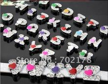 1pcA-Z 8mm Heart Rhinestone Slide Letters Slide Charms Fit DIY Wristband & Bracelet & Pet Collar(China)