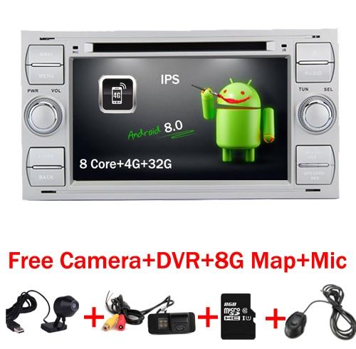 7 Серебряный Пианино Android 8.0 автомобиль DVD GPS Радио для Ford Focus Kuga транзит Fusion Galaxy 4 г Wi Fi 8 core bluetooth бесплатную карту DVR