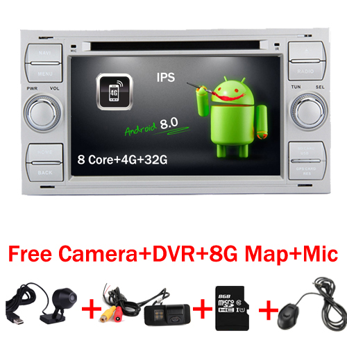 7 argent Piano Android 8.0 Voiture DVD GPS Radio pour Ford Focus Kuga Transit Fusion GALAXY 4G Wifi 8 Core Bluetooth carte Gratuite DVR