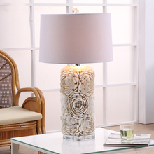 Luxury Fashion Mediterranean Flower Shape shells Table Lamp Bedroom Bedside Lamp Sculpture Resin Decoration Lamp Abajur Led