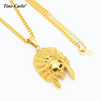 Skeleton Indian Chiefs Necklace Stainless Steel Gold Color Hiphop Necklace R B Necklace Dancer Style Men