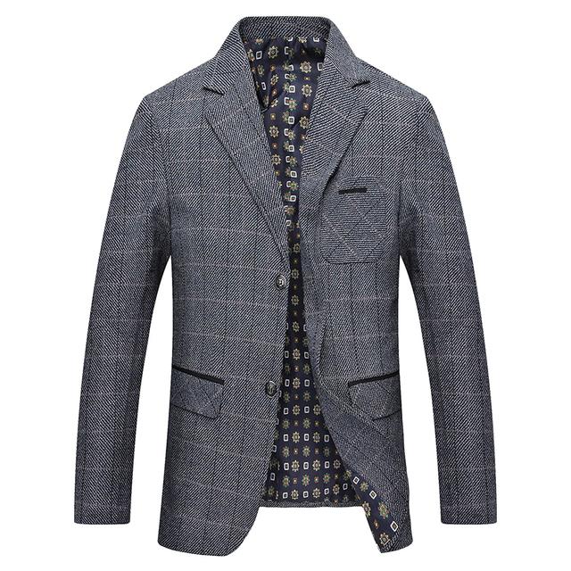 Mwxsd brand Men's Plaid Wool Blazer jacket Men Fashion Slim fit suit  jacket homme Casual male blazer Suit Jacket masculino