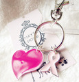 El Envío Gratuito! 10 unids/lote Breast Cancer Pink Ribbon regalo precioso subió corazón de aleación de zinc llavero