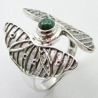 Silver Natural Malachite Ring Size 8 Fancy Wholesale Jewelry Unique Designed