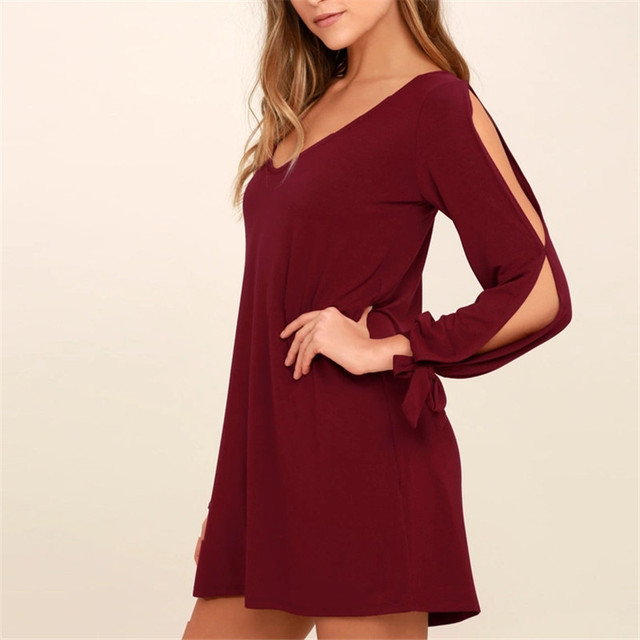 f404358693f5 Casual Women Dress 2018 Fall Long Sleeves Wine Red Shift Dress Autumn Cold  Shoulder Cutouts Tying Cuffs V-neck Mini Dresses