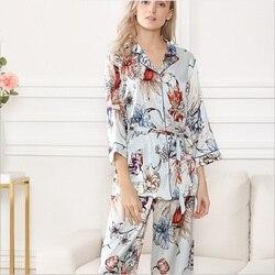 100% Silk Stain Pajamas Set Women Summer 2019 Flower print sleepwear sets night wear homewear long sleeve tops and  pants set