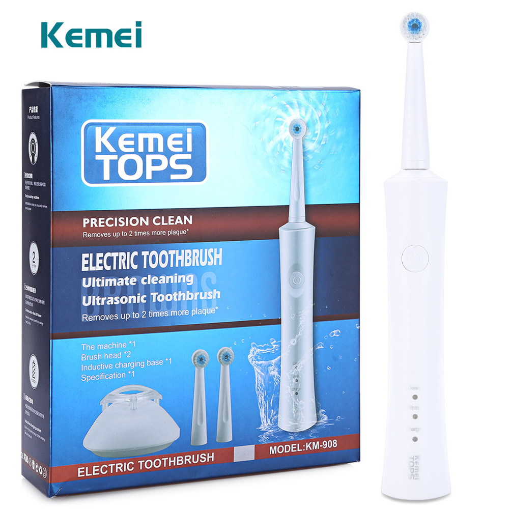 Kemei KM-908 Waterproof Rechargeable Electric Toothbrush with 2 Heads Oral Hygiene Dental Care for Kids Adults 2pcs philips sonicare replacement e series electric toothbrush head with cap