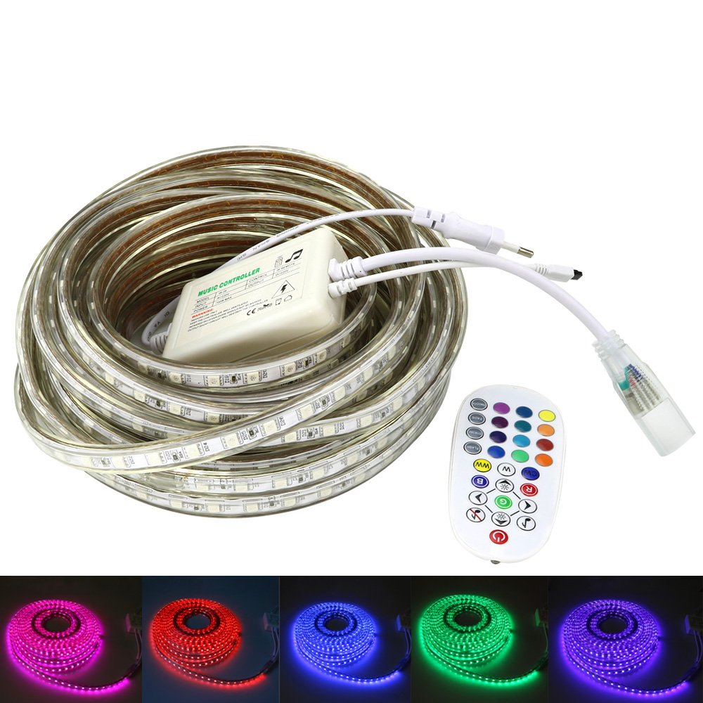 LED Strip SMD 5050 RGB AC 220V Waterproof led light With RF remote music controller +EU Plug 1/2/3/5/8/10/15/20/25/30 Meters 110v 220v 1500w rgb controller led dimmer 5key rf touch remote control eu plug us plug free shipping