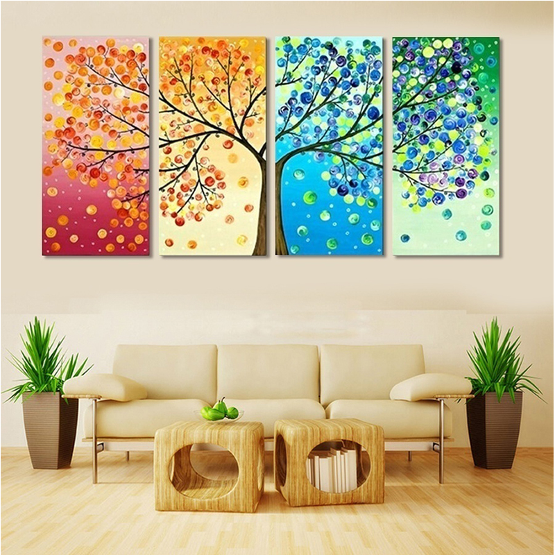 Aliexpresscom  Buy Unframed Colourful Leaf Trees Canvas painting 4 Piece Spray painting