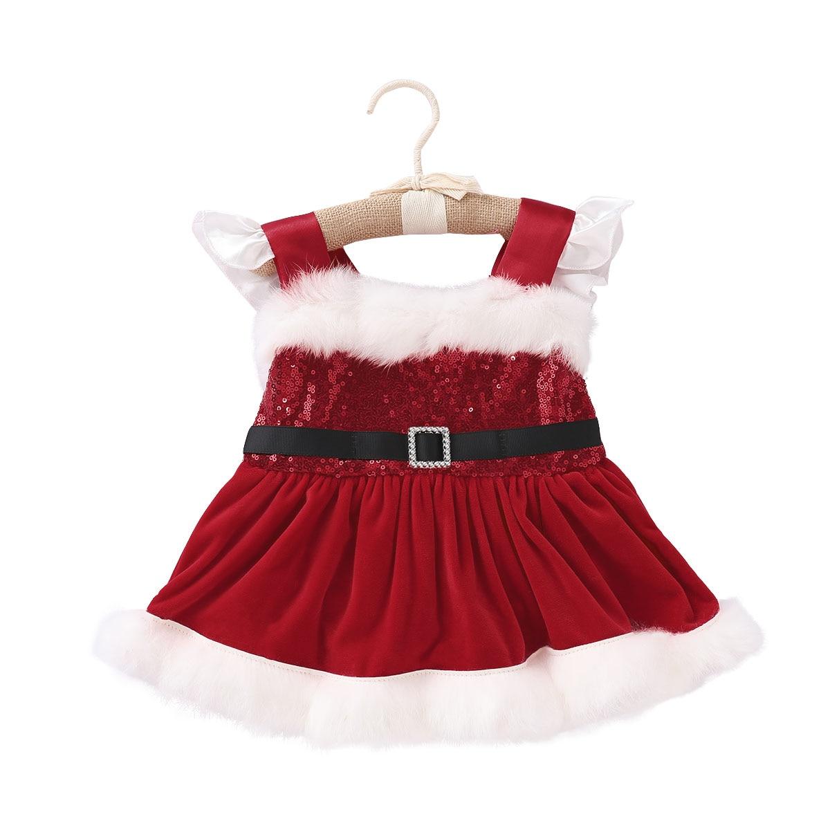 2018 New Christmas Newborn Baby Girl Velvet Romper Sequin Sleeveless Red Romper Jumpsuit Playsuit Xmas Baby Girl Clothes DNFS