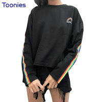 New Winter Letters Rainbow Embroidery T Shirts Striped Long Sleeve T Shirt O Neck Women S