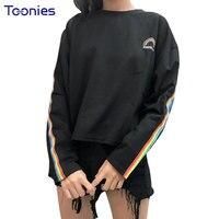 Yeni Kış Mektuplar Gökkuşağı Nakış T Shirt Çizgili Uzun Kollu T-shirt O-Boyun kadın Dibe Tee Gömlek Gevşek Kadın Tops