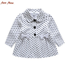 Fashion Spring Autumn Toddler Girl Polka Dot Coat 100%Cotton White Bow Children Jacket Outerwear