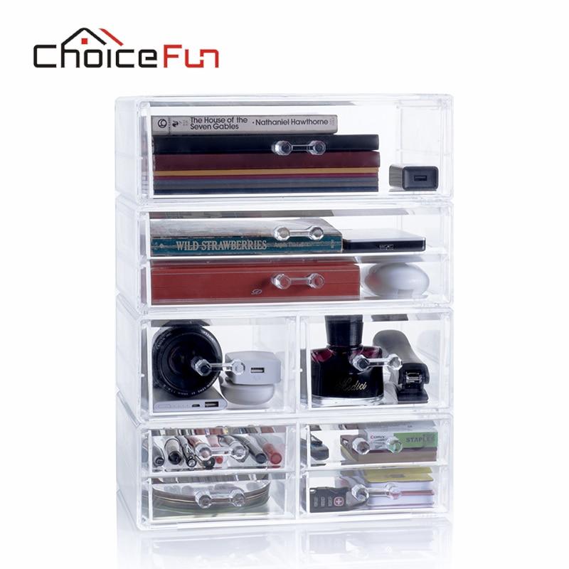 Choicefun Clear Plastic Glossy Desk Organizer Box Acrylic