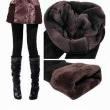 Autumn Winter Woman Lady Thick Warm Fleece Fur lined Tight Pencil Pants Black WADL-1302