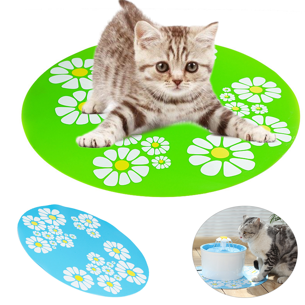 33CM Pet Water Feeder Automatic Roundness Drinker Mat Green Blue Food Grade Silicone Non-slip Water Pad Dog Cat Daily Supplies