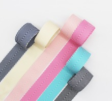 Double Sided Striped Herringbone Chevron Ribbon Woven Tapes 1.5 38MM 1 Inch 25MM Pink Blue Navy Cream Hot Black and White