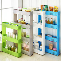 4 layer Movable Plastic Interspace Storage Rack Refrigerator Space Rack with Roller Shelves Kitchen Bathroom Shelf