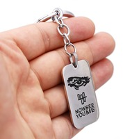 Julie 12Pcs/lot Hot Sale Dog Tag Movie Jewelry Now You See Me Square High Quality Silver Zinc Alloy Keychain For Fans Llavero