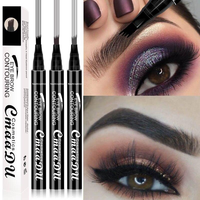 2019 Waterproof Microblading Tatto Eyebrow Liquid Ink Makeup Fine Sketch 4 Fork Eyebrow Pen Waterproof Tattoo Eye Brow