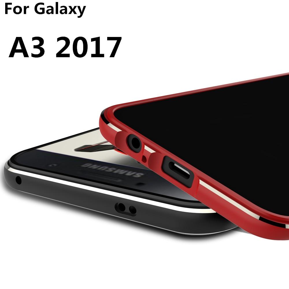 Цена за Для Galaxy A3 2017 case Luxury Ультра Тонкий алюминиевый Бампер Для Samsung Galaxy A3 2017 A320 A320F + 2 Фильм (1 Спереди и 1 Сзади)