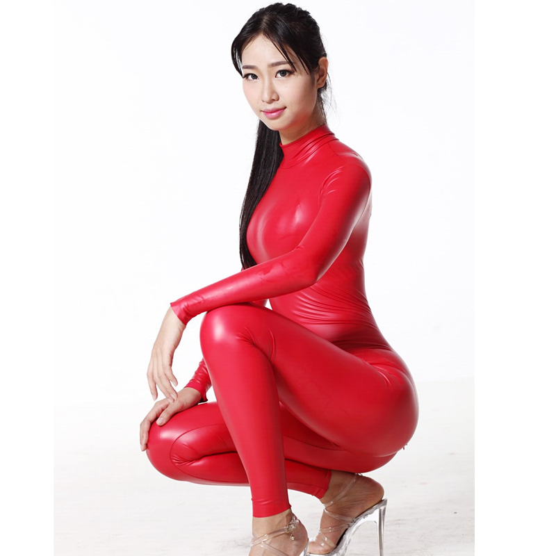 Sexy Women Full Body Shiny Leotard Bodysuit Latex Two Way Zipper Open Crotch Elastic Bodysuit Moto