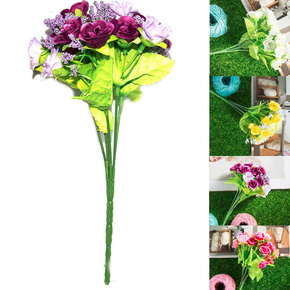 Retail 21pcs Artificial Perfect decorative Rose flowers Silk Wedding ...
