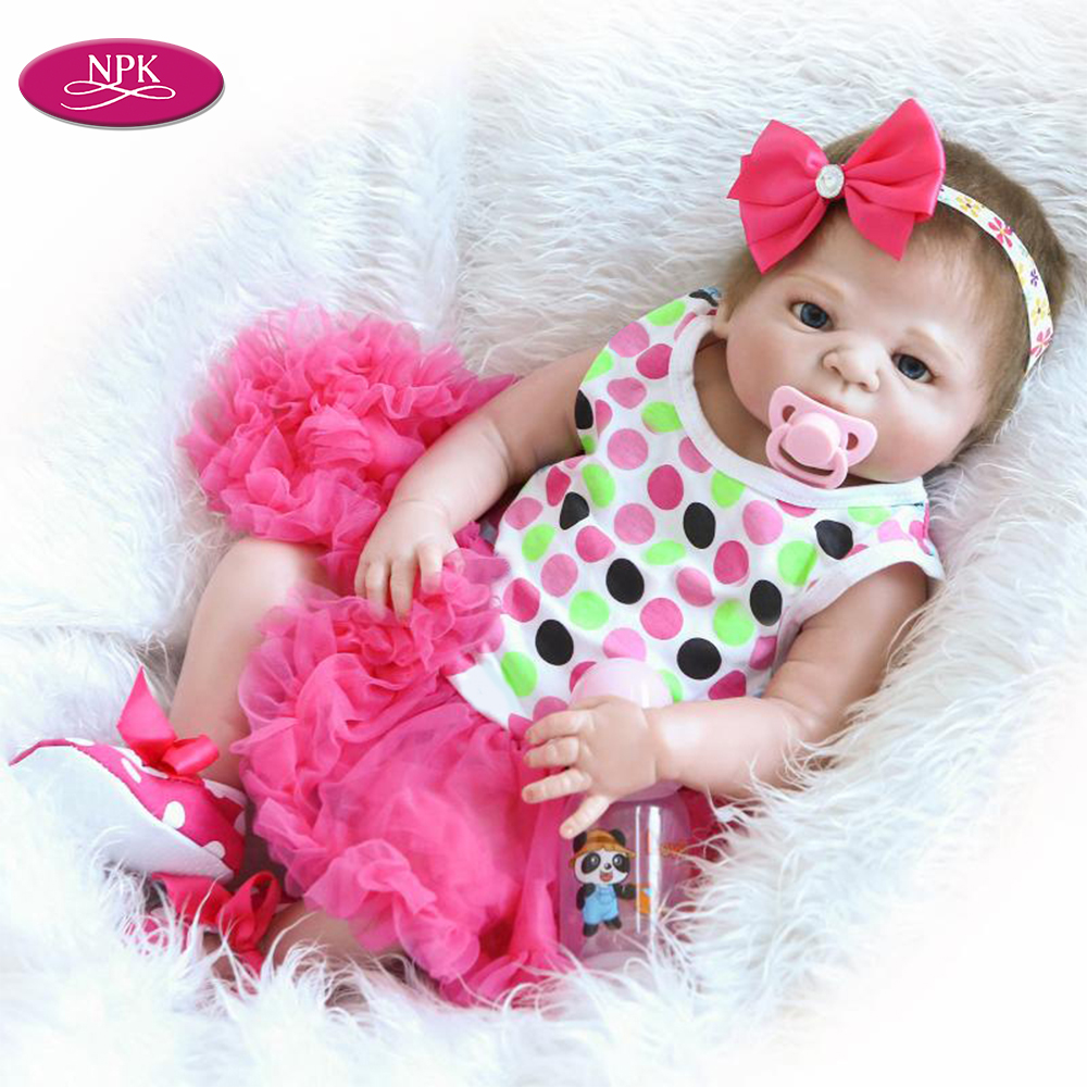 NPK 23 Super Realistic Simulation Girl Dolls Toy Soft Full Body Vinyl Reborn Baby Doll bebe