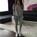 Women Off Shoulder Jogger Casual Womens Tracksuit Sportswear Tops Pants Sweatshirt