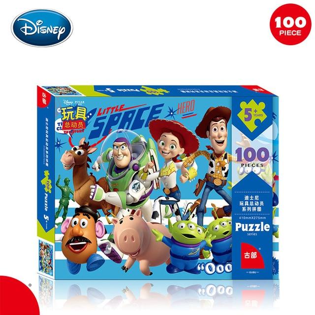 Disney Caixa de Ferro do Puzzle Brinquedos De Madeira Aprendizagem Precoce 60 Peças Mickey Gelo Neve Princesa Sophia Puzzle De Corrida