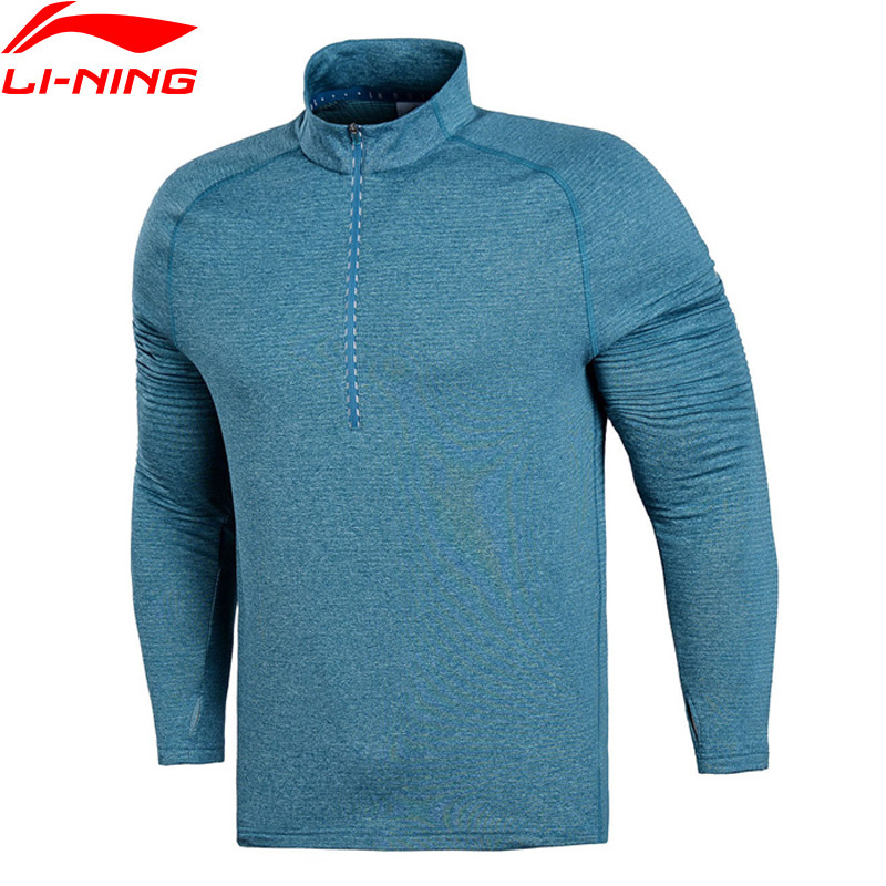 Li-Ning Men Running WARM AT T-Shirt Long Sleeve 95% Polyester 5% Spandex Comfort Tops LiNing Sports T-shirts Tee ATLN085 MTL990 faux twinset button design v neck long sleeve fitted stylish polyester t shirt for men